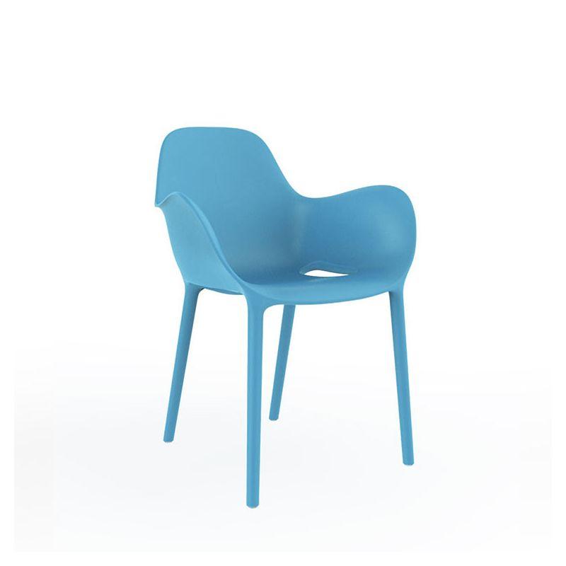 Chaise d'extérieur bleue SABINAS à accoudoirs Vondom