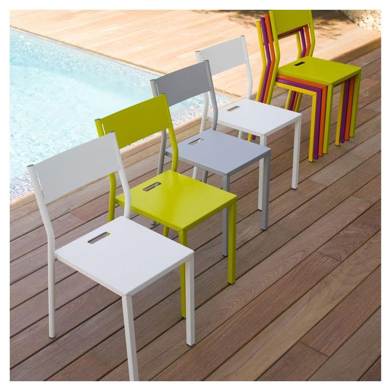 chaise de jardin m tal take mati re grise. Black Bedroom Furniture Sets. Home Design Ideas