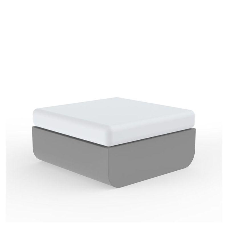 Pouf carré acier ULM Vondom, coussin d'assise rembourré blanc