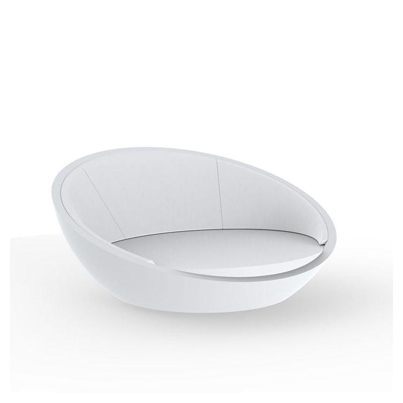 Daybed rond blanc ULM Vondom, coussins blancs