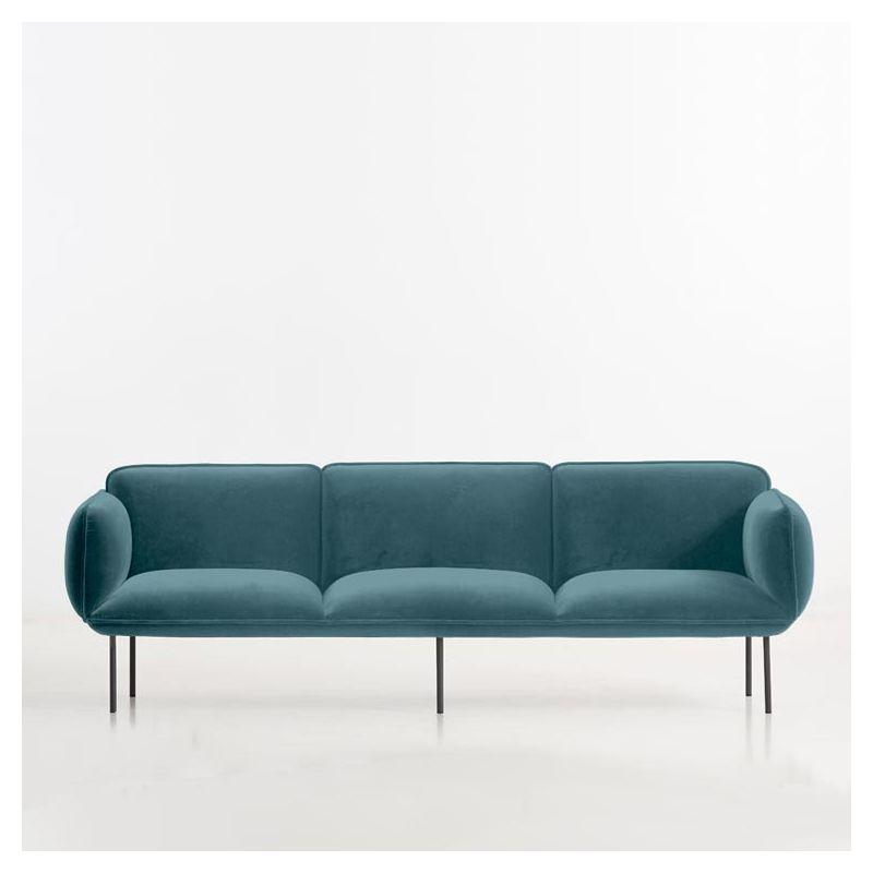 Canapé 3 places tissu velours turquoise NAKKI Woud