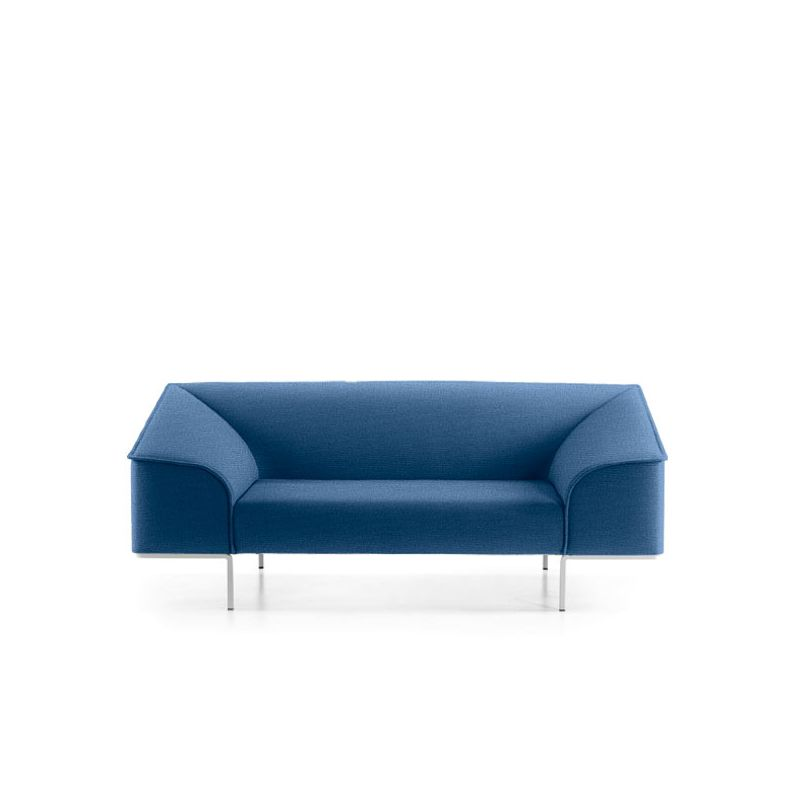 Canapé 2 places SEAM Prostoria, tissu Era bleu, structure blanche