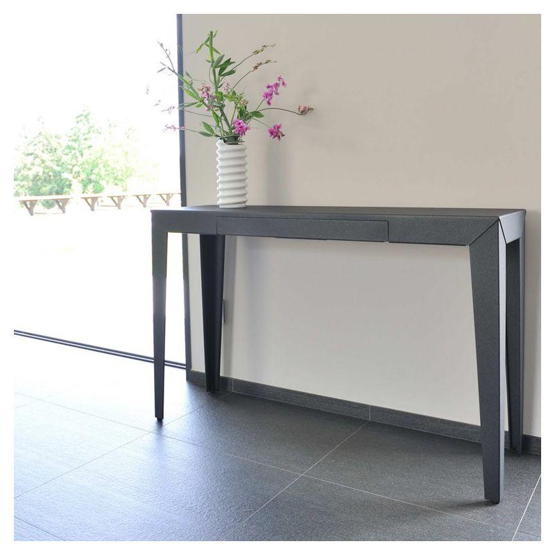 zef s console 120 cm mati re grise acier 32 couleurs. Black Bedroom Furniture Sets. Home Design Ideas