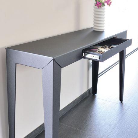 zef console design m tal tiroir mati re grise. Black Bedroom Furniture Sets. Home Design Ideas