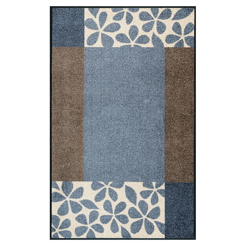 Tapis lavable FLORITA GREY Wash and Dry 75 x 120 cm