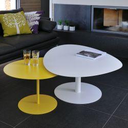 Table basse 3 GALETS XL blanche Matière Grise