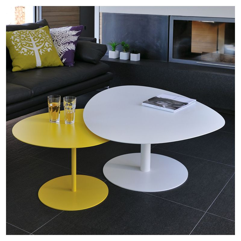 Table basse indoor outdoor galet xl mati re grise - Table basse grise design ...