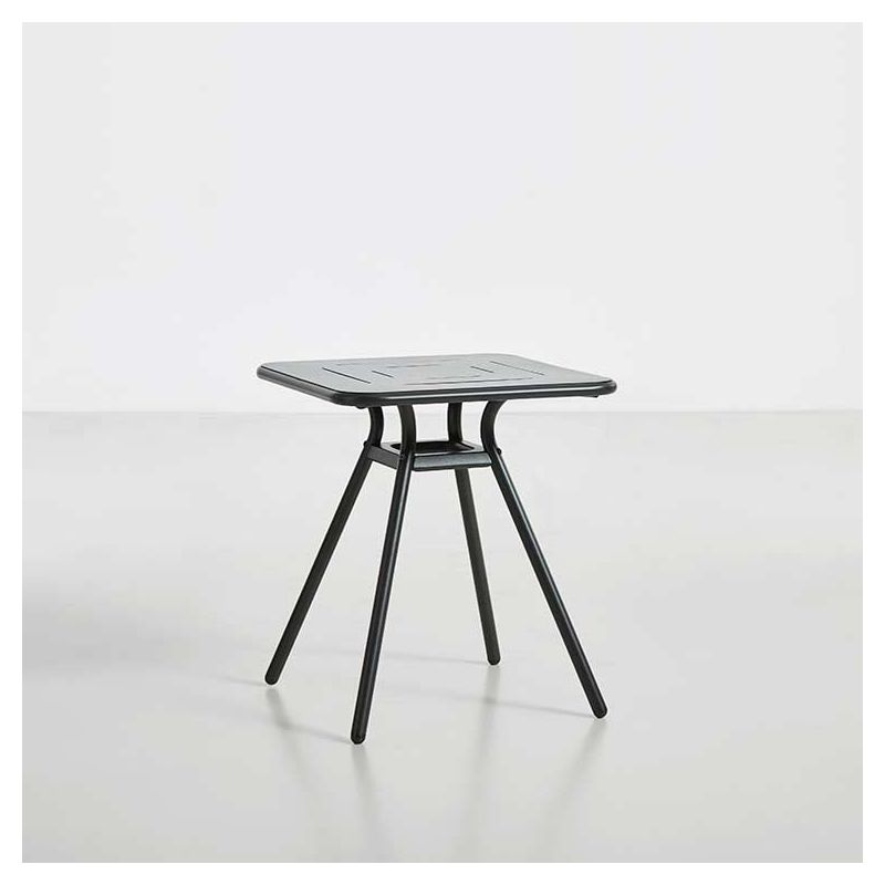 Table de jardin carrée RAY CAFE Woud, coloris charbon