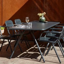 Table de jardin en aluminium 220 x 85 cm noir charbon RAY Woud