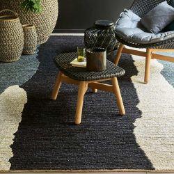 Détail du chanvre tissé du tapis CLAIR OBSCUR Noir & Blanc, collection Designers Toulemonde Bochart