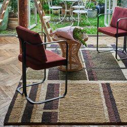 Détail motif et tissage chanvre du tapis WORKS Terre, collection Designers Toulemonde Bochart