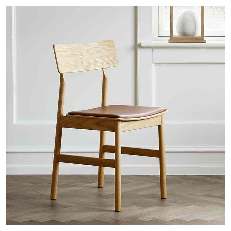 Chaise chêne huilé assise cuir cognac PAUSE Woud