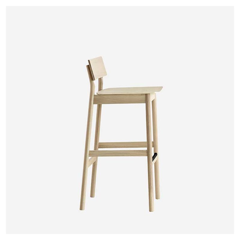Chaise de bar chêne blanchi H 75 cm PAUSE Woud