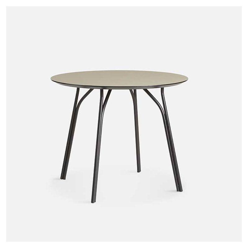 Table ronde Ø 90 cm TREE Woud, pieds noirs et plateau FENIX NTM® beige