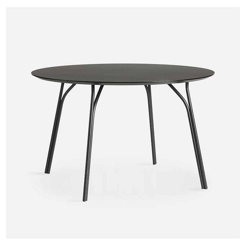 Table ronde Ø120 cm TREE Woud, pieds noirs et plateau FENIX NTM® noir