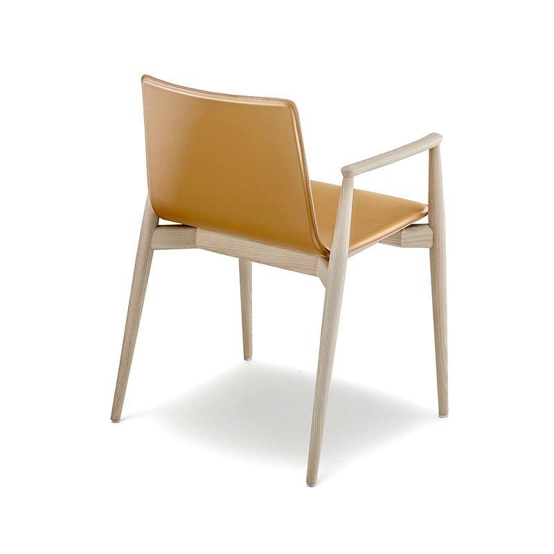 Fauteuil design bois & cuir Malmö 397 Pedrali