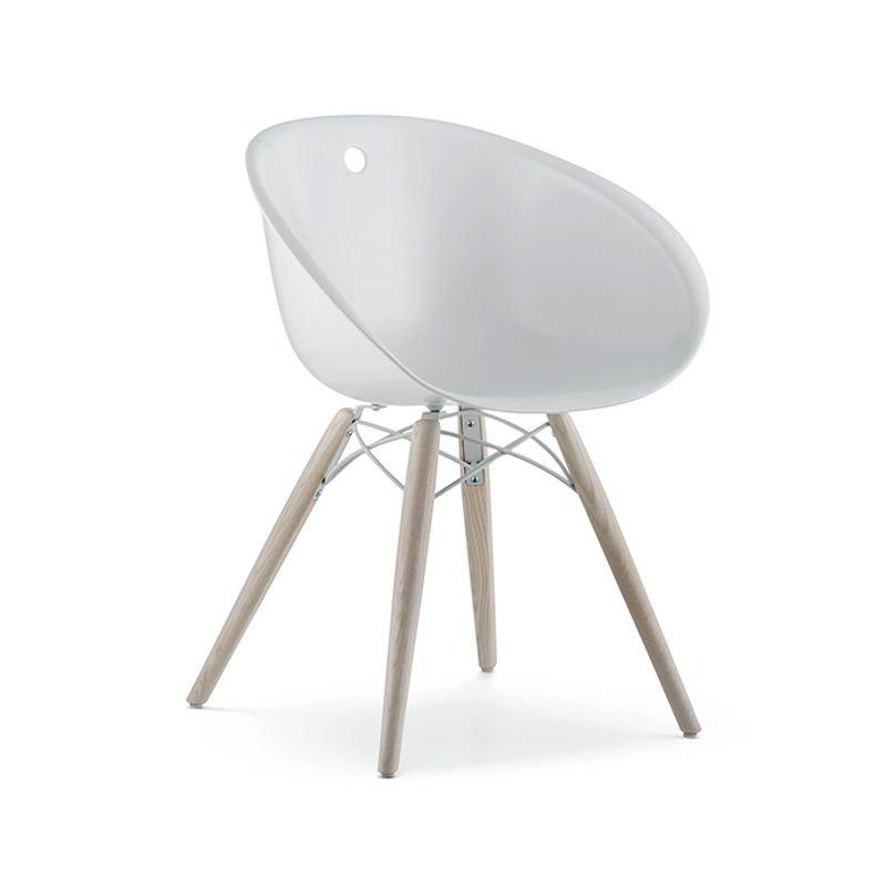 Gliss 904 chaise coque pieds bois pedrali for Chaise pedrali
