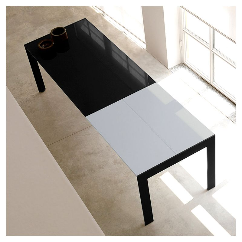 Matrix table extensible design pedrali verre bois for Table verre extensible