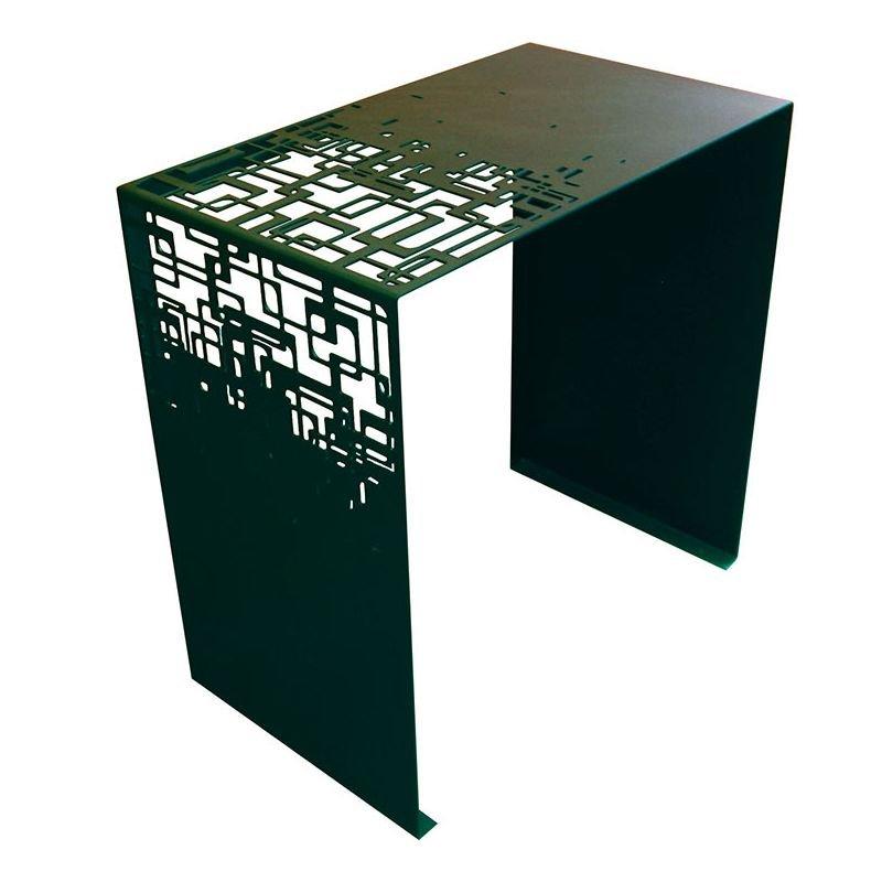 Cubical table d 39 appoint m tal bout de canap coco co for Bout de canape noir