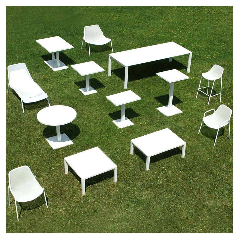 Table De Jardin Ronde Carrelee : Round, table de jardin à rallonges métal Emu