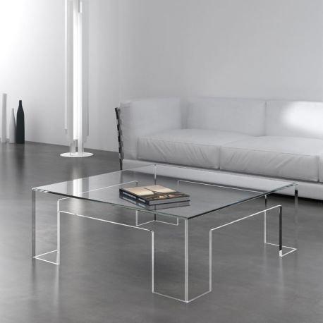 Aloe table basse transparente en verre celda for Table de nuit transparente