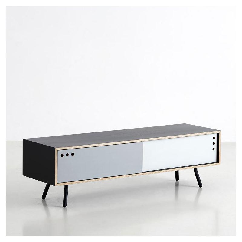 Geyma rangement bas woud meuble tv design 2 portes for Meuble bas tv design