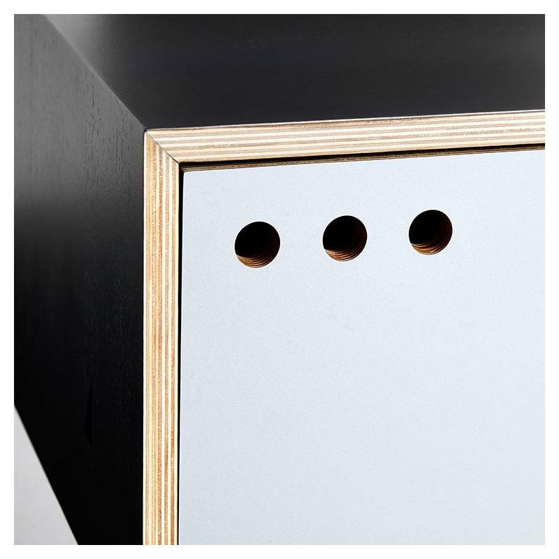 Geyma rangement bas woud meuble tv design 2 portes for Meuble tv rangement