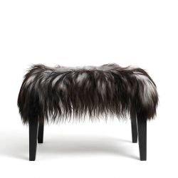 Banc BOB revêtu mouton chiné gris brun, pieds frêne teinté noir Mjiila