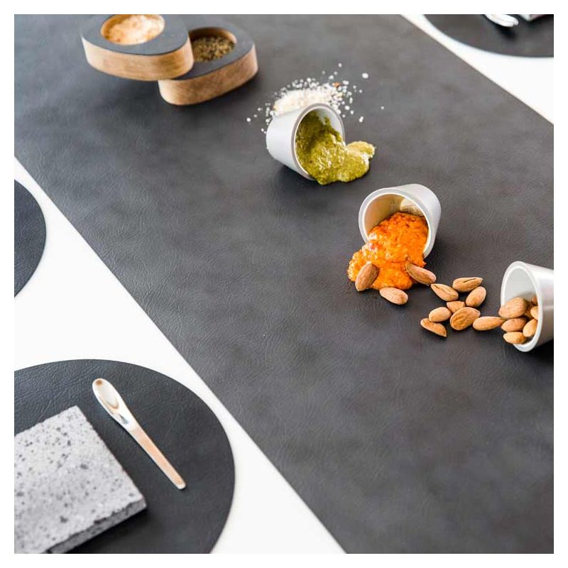Chemin de table cuir recyclé Nupo anthracite RUNNER Lind DNA