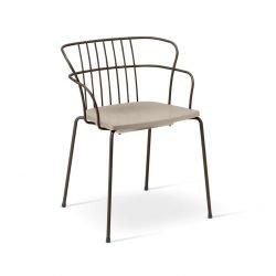 Fauteuil outdoor assise tourterelle & structure moka FLINT Metalmobil