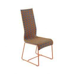 Chaise multicolore orange, piètement orange KENTE Varaschin
