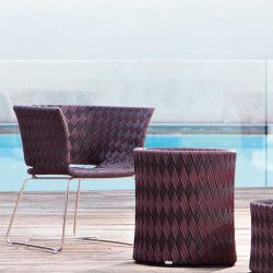 Fauteuil lounge multicolore marron, piètement inox KENTE Varaschin