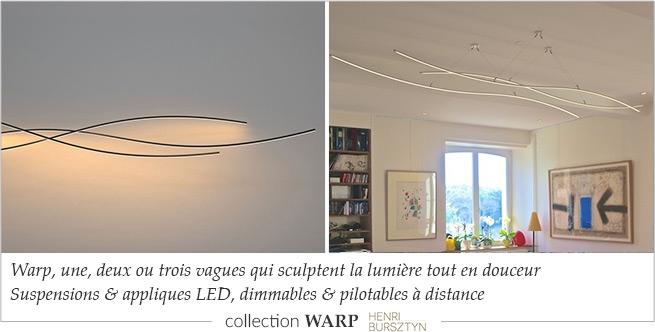 Collection WARP de luminaires design forme vague Henri Bursztyn