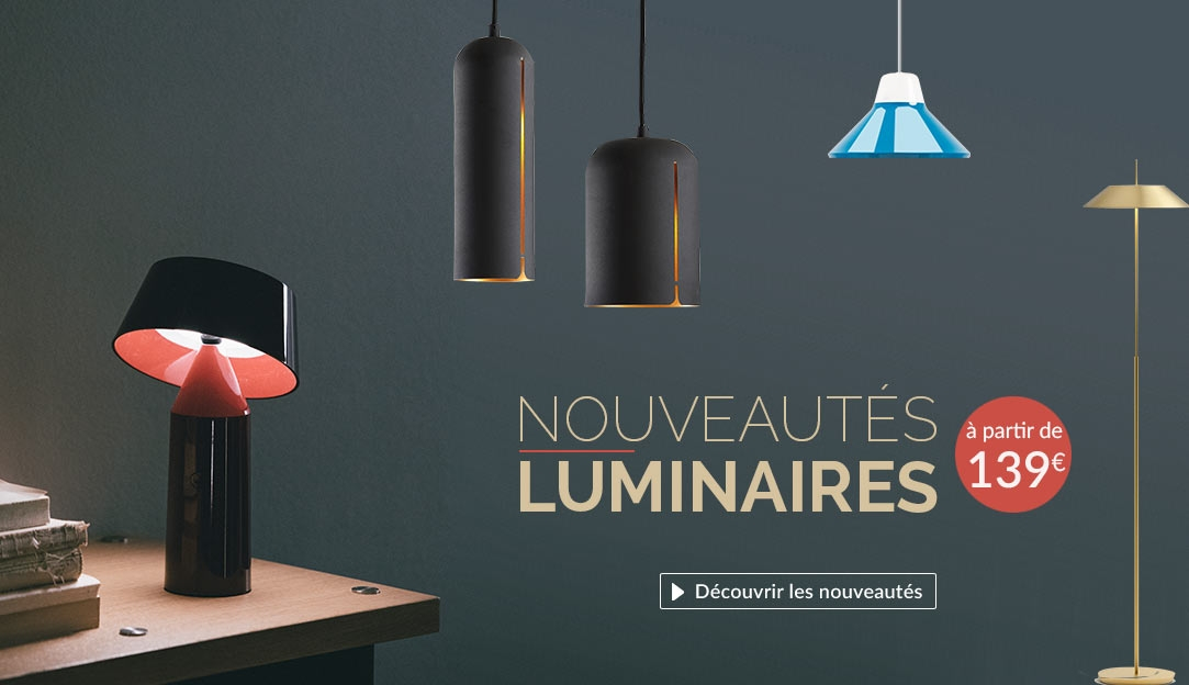 Lampe sans fil Bicoca Marset, suspension Icon Teo, suspension Gap Woud & lampe de sol Mayfair Vibia
