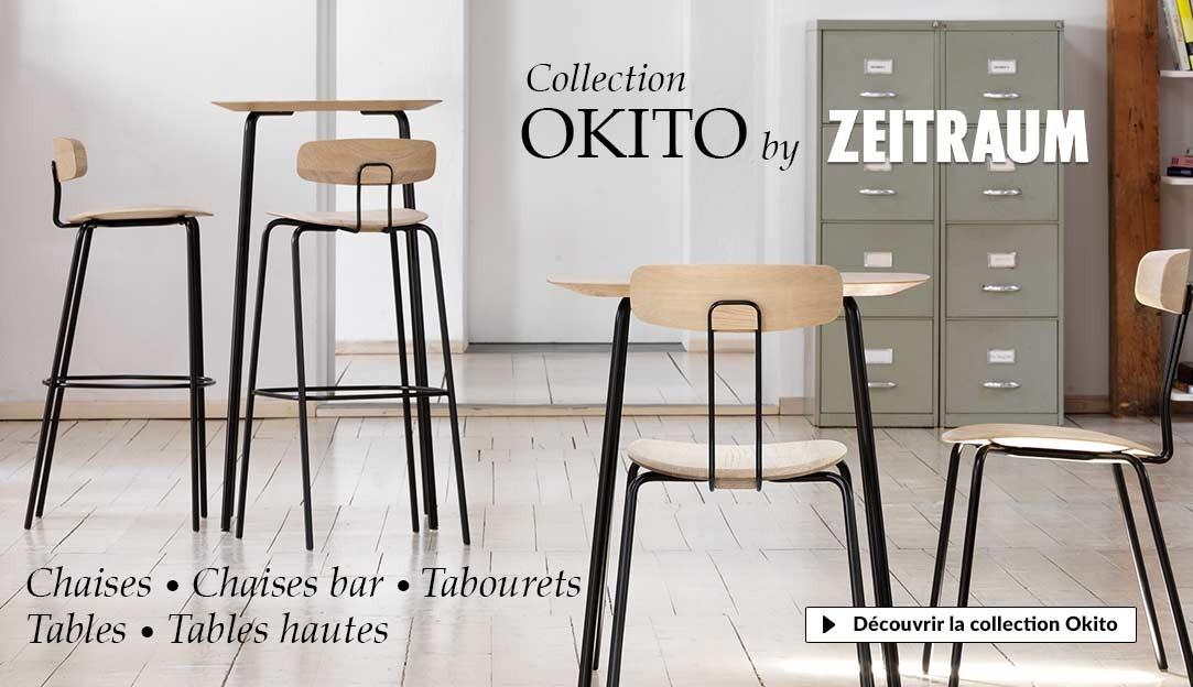 Collection Okito Zeitraum, tables et chaises design contemporain en bois ert métal