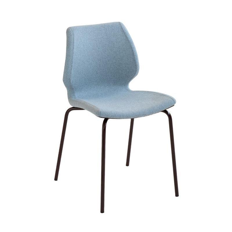 Chaise rembourrée UNI Metalmobil, pieds laqués moka, assise moka, revêtue tissu Lama bleu ciel