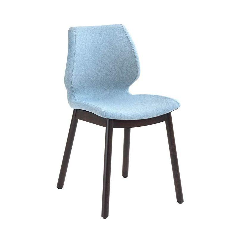 Chaise en bois rembourrée UNI Metalmobil, pieds ronds hêtre teinté wengé, assise marron, revêtue tissu Lama bleu ciel