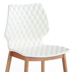 Chaise bois UNI Metalmobil pieds ronds hêtre naturel, coloris blanc