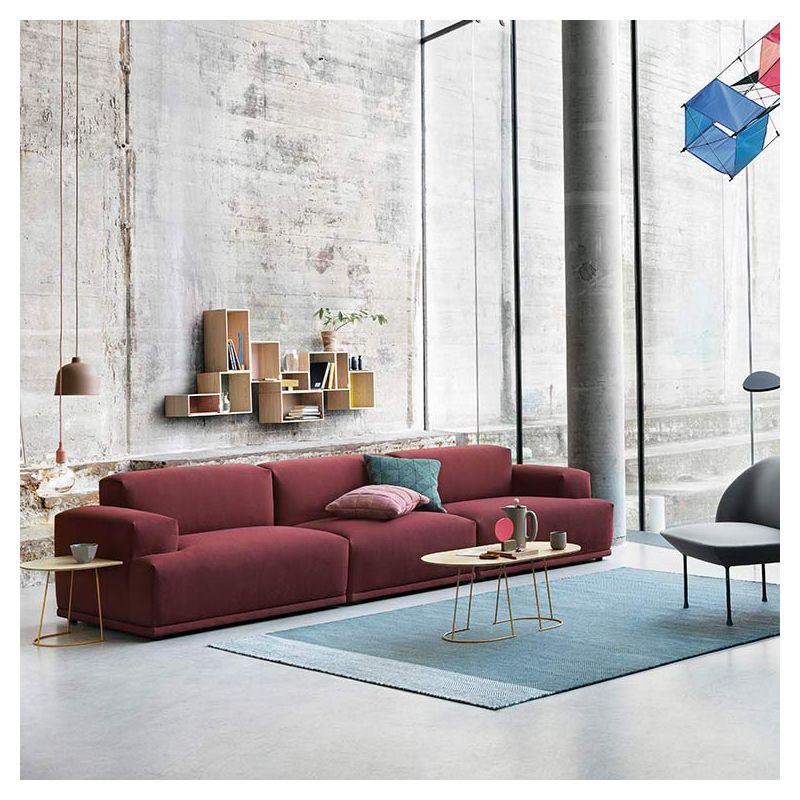 Canapé 3 places revêtu tissu rouge amarante Rime CONNECT Muuto