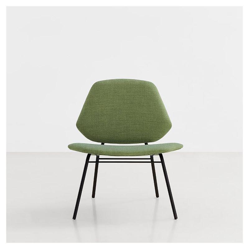Fauteuil lounge rembourré revêtu tissu vert LEAN Woud