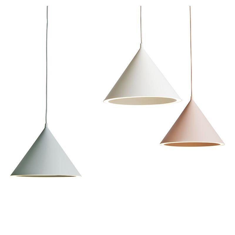 Suspensions LEDs ANNULAR Woud coloris mint, blanc et nude