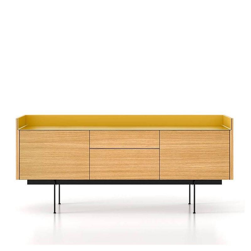 Enfilade 2 portes 2 tiroirs 180 STOCKHOLM Punt, finition chêne super mat & dessus gold