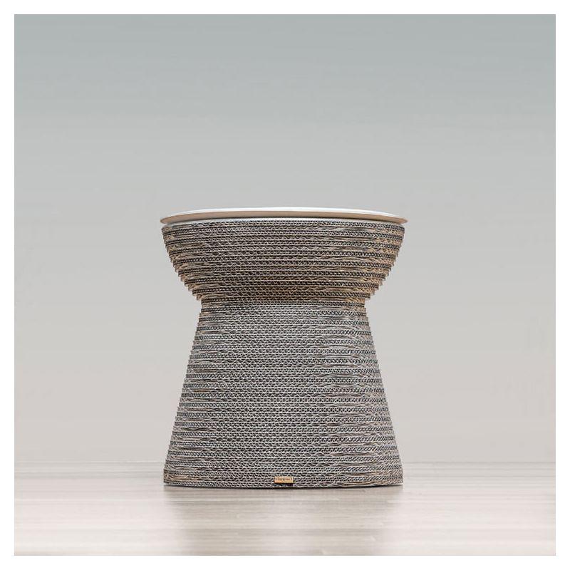 Tabouret table d'appoint éco-design CORK Staygreen, coloris argent