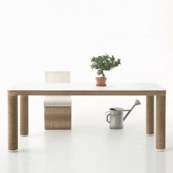 Table rectangulaire éco-design POLE Staygreen, coloris kraft naturel