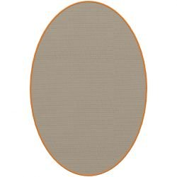 Tapis ovale ELLIPSE à galon Dickson, coloris Sable U 522, galon orange 5242