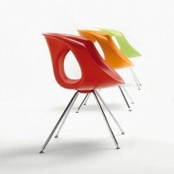 Chaise pieds métal UP CHAIR Tonon, coloris rouge, orange et vert