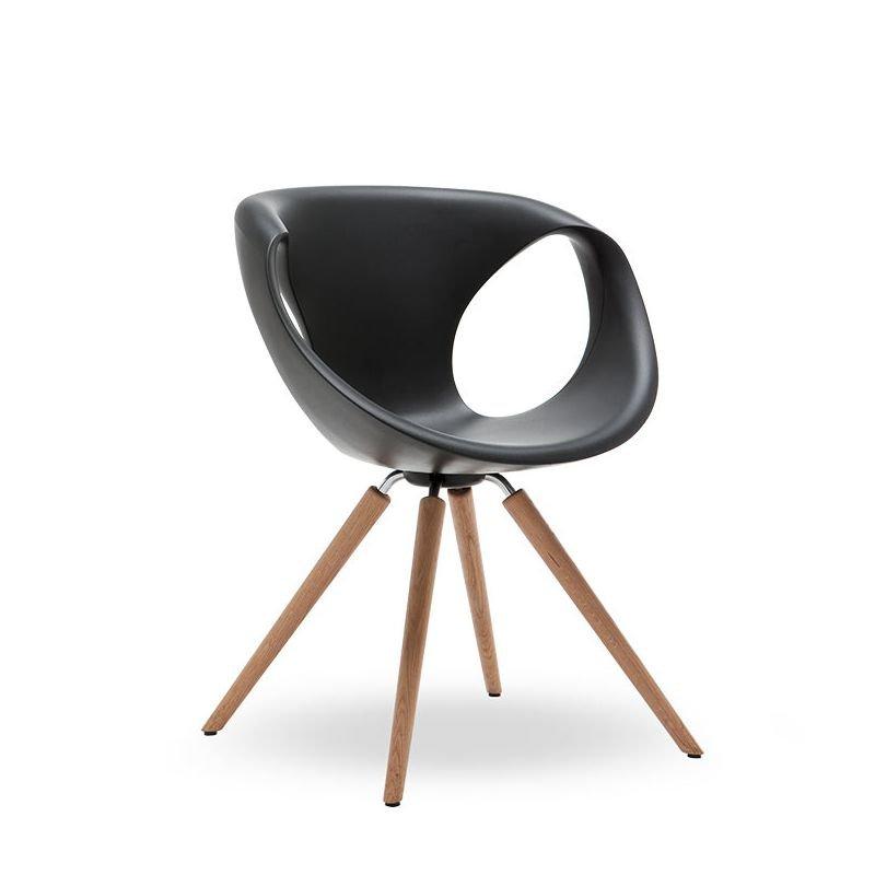Chaise UP CHAIR 907 11 Tonon, pieds chêne massif huilé, assise polyuréthane soft touch coloris noir