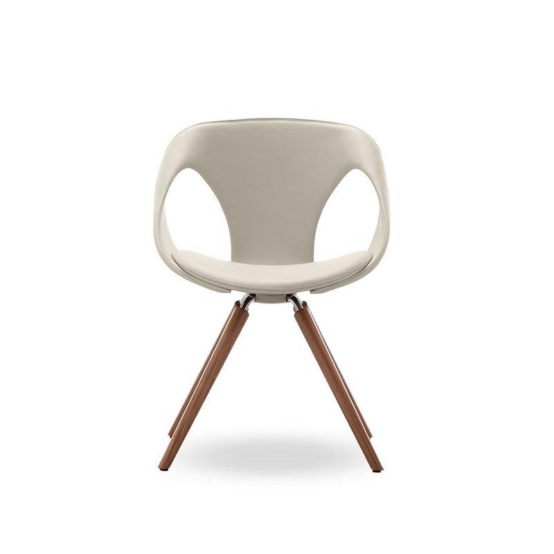 Chaise rembourrée design UP CHAIR Tonon, assise cuir coloris blanc cassé, pieds chêne massif huilé