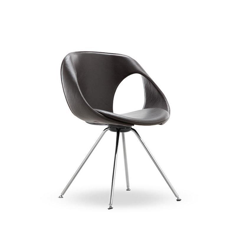 Chaise design rembourrée pieds métal UP CHAIR Tonon, modèle fixe, assise cuir coloris noir