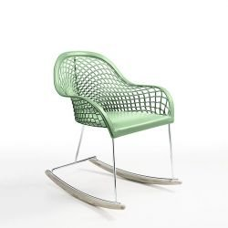 Rocking-chair cuir GUAPA DN Midj, coloris vert sauge U 69